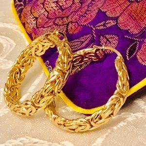 """Ross Simons Byzantine Hoop Earrings, 1 1/4"""" (New)"""